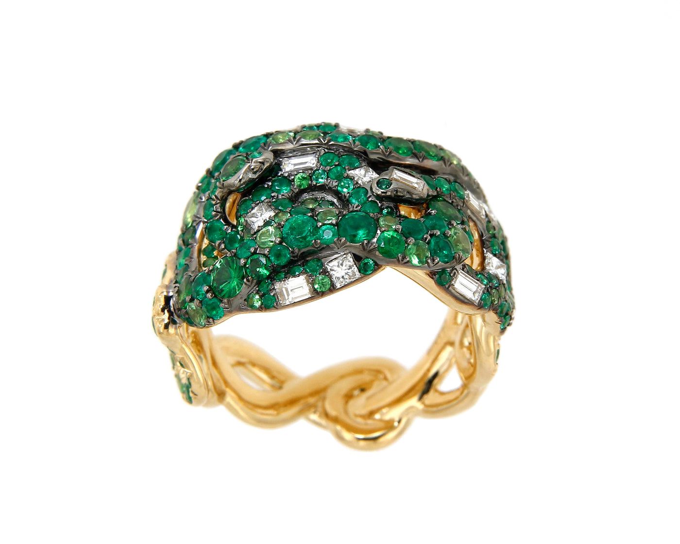 Ring 4 Snakes Emeralds, Tsavorites and White Diamonds