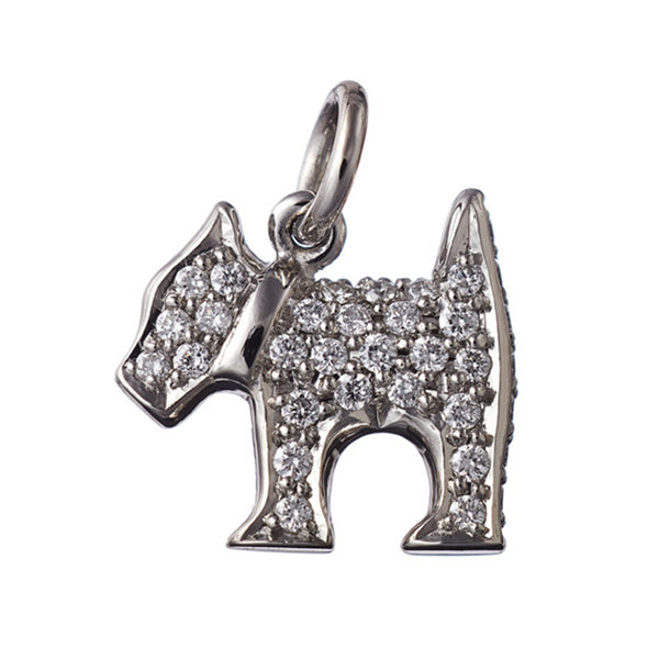 AENEA CHARM COLLECTION Pendant Dog Platinum / Rose Gold or Yellow Gold with White Diamonds