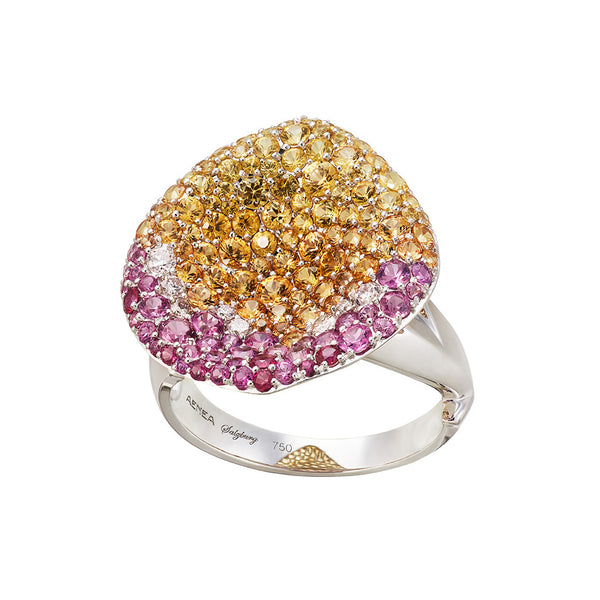 AENEA FOGLIO DI ROSA Collection Ring White Gold White Diamonds Pink and Yellow Sapphires