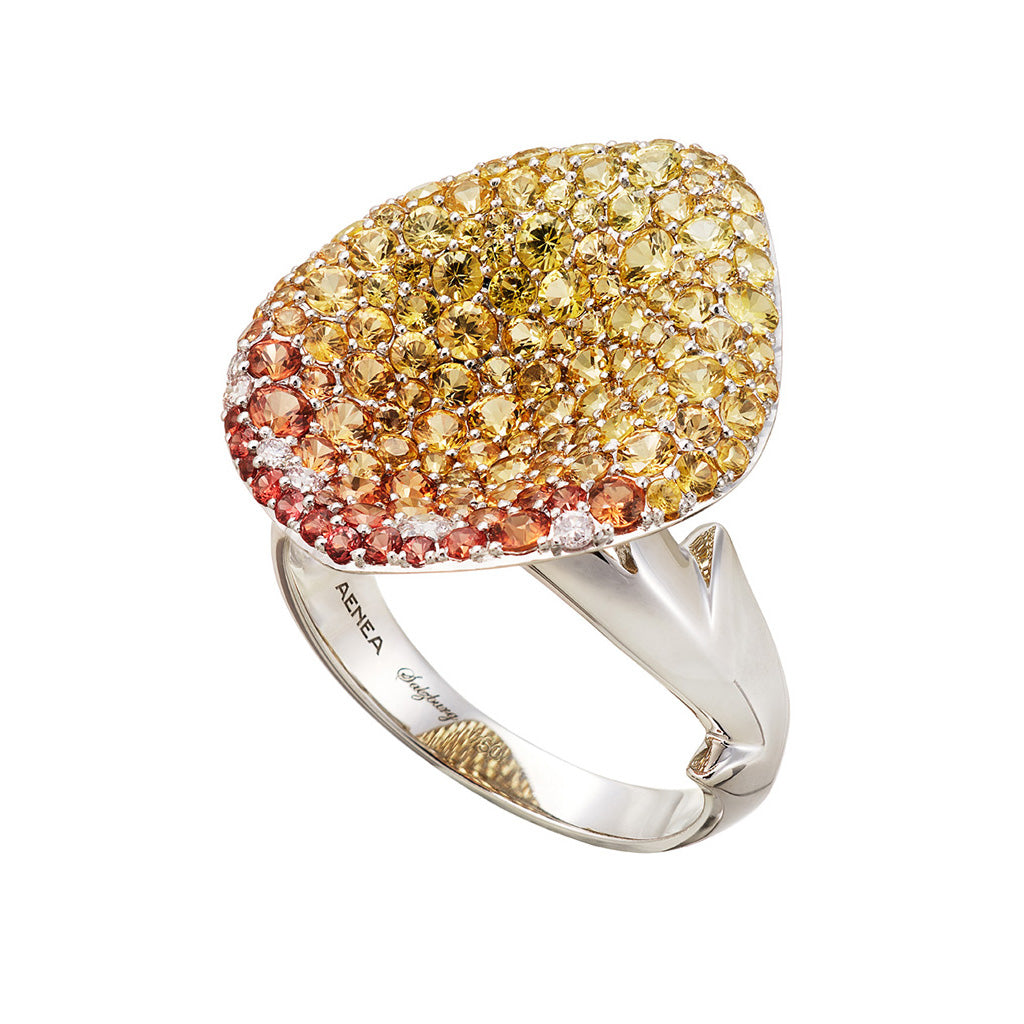 AENEA FOGLIO DI ROSA Collection Ring White Gold Orange und Yellow Sapphires White Diamonds
