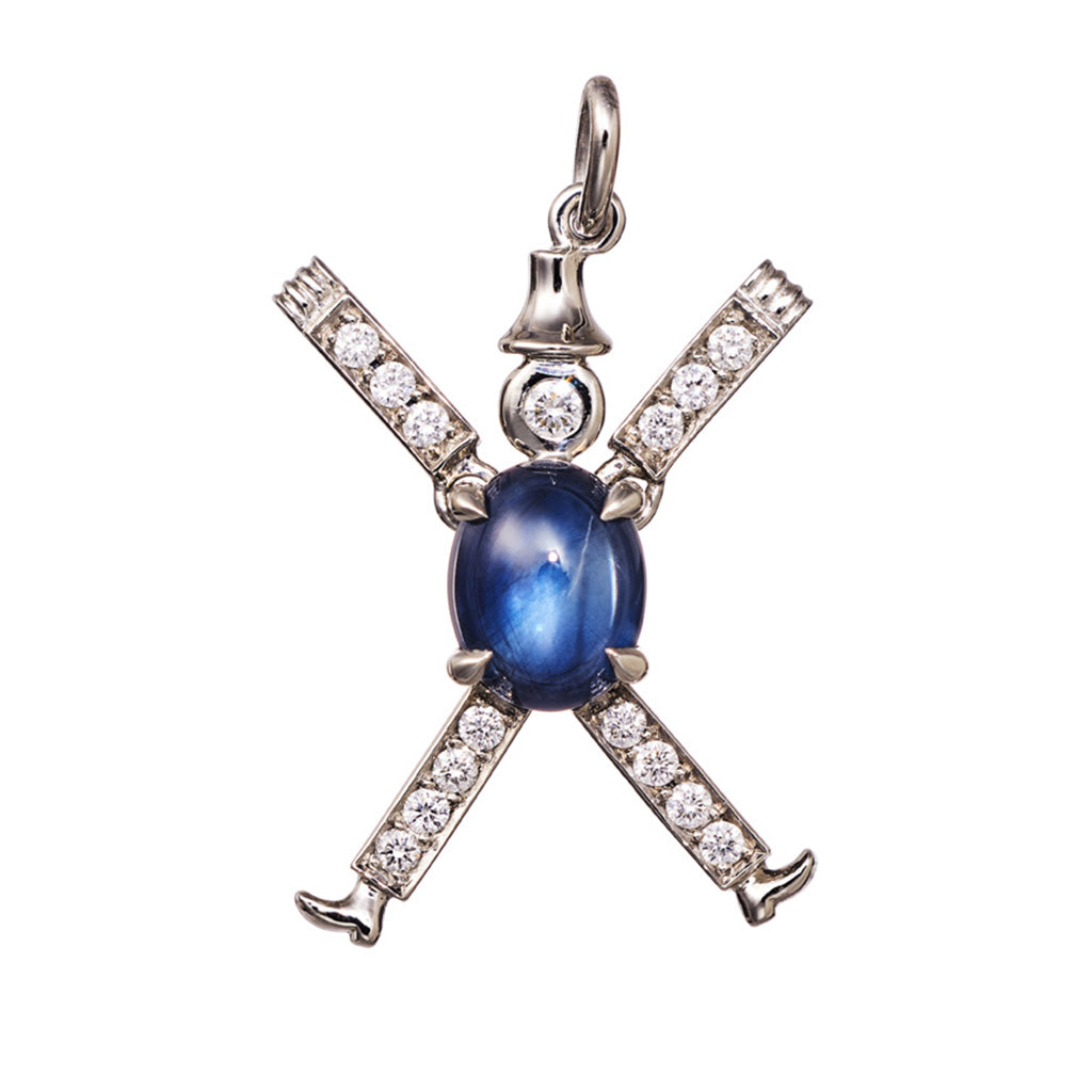 AENEA CHARM COLLECTION Pendant Jumping Jack Platinum, Rose Gold or Yellow Gold with Blue Sapphires