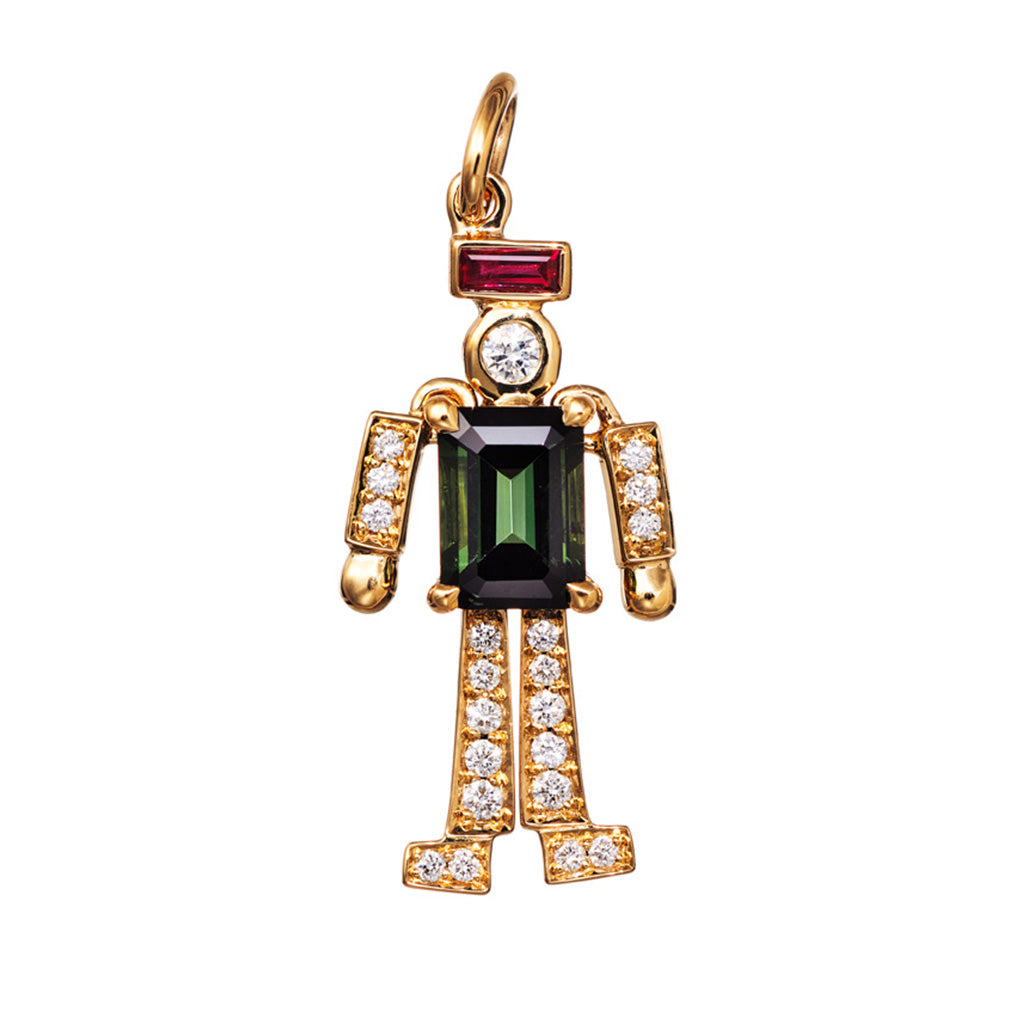 Charm Pendant Platinum / Rose Gold / Yellow with Green Tourmaline und White Diamonds