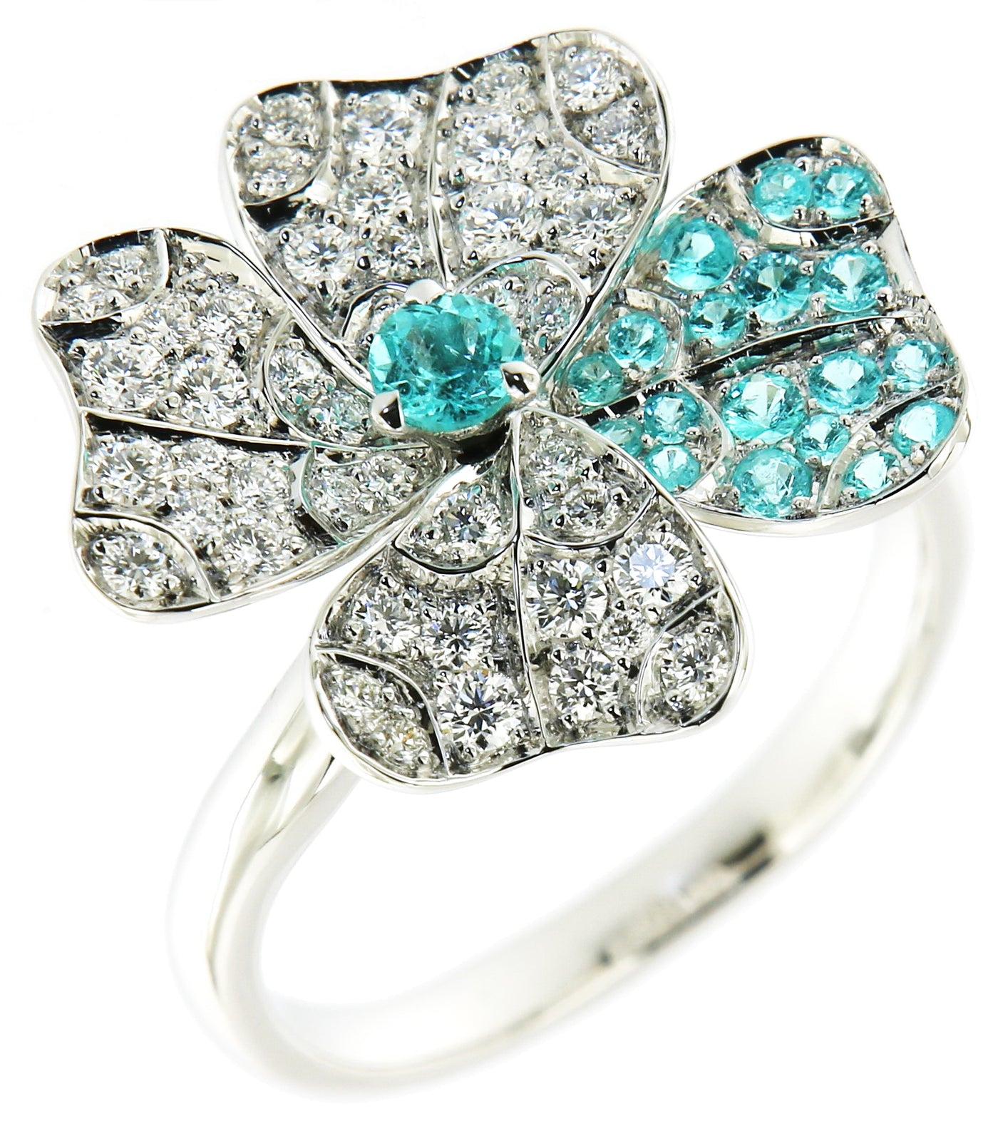 Ring White Gold with Paraiba Tourmalines and White Diamonds