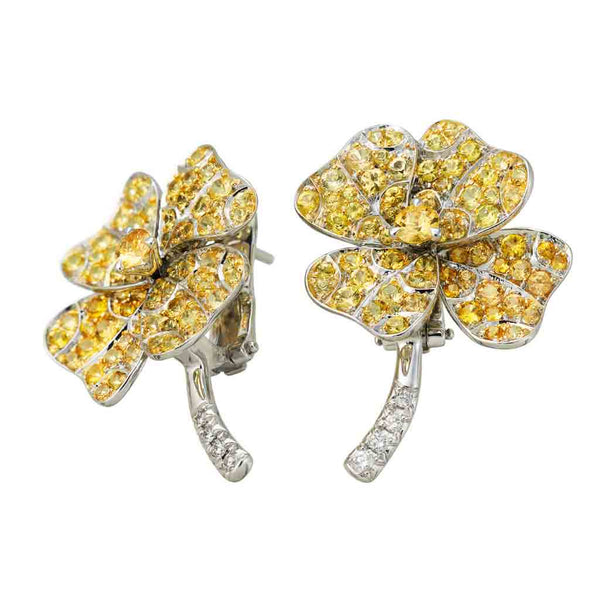 Earrings White Gold with Yellow Sapphires and White Diamonds