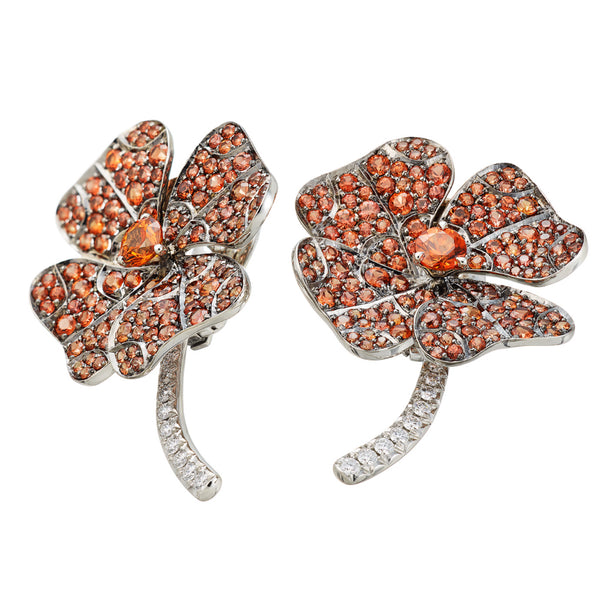 Earrings White Gold with Orange Sapphires and White Diamonds