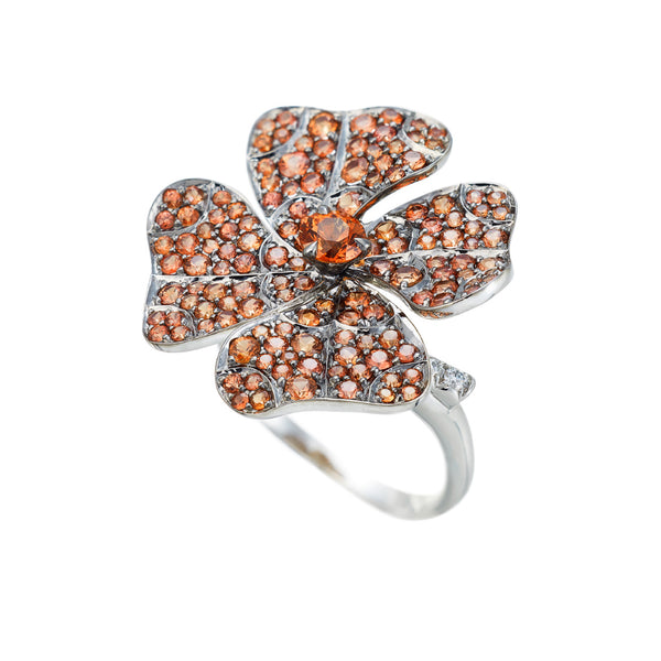 Ring White Gold with Orange Sapphires and White Diamonds