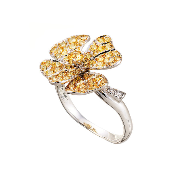 AENEA Quadrifoglio Collection Ring White Gold with Yellow Sapphires and White Diamonds