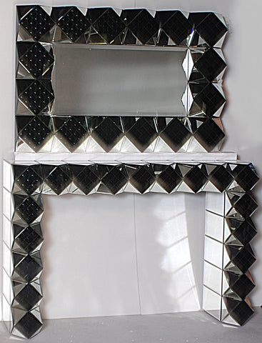 2 Tone Cubism Mirrored Console with Matching Mirror