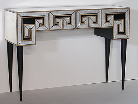 Greek Key Design Mirrored Console Table