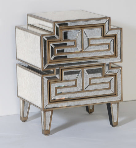 Asian Modern 2 Drawer Side Table