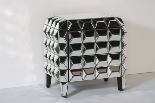 Cubism Mirrored Side Table