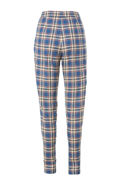 The Pleated Pant | Navy Cream Plaid