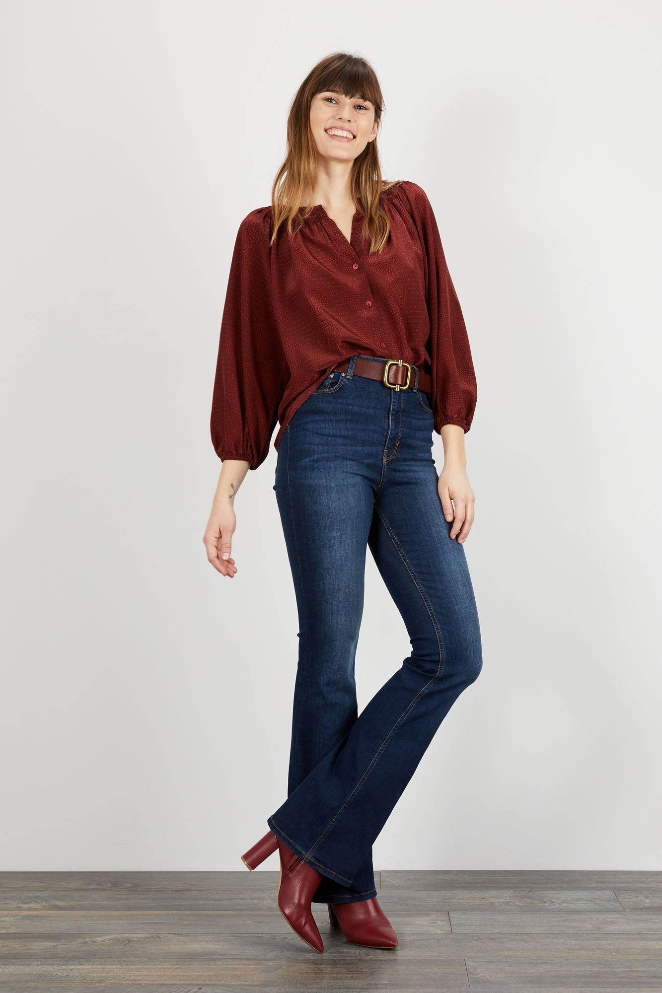 The Classic Blouse | Merlot Waves
