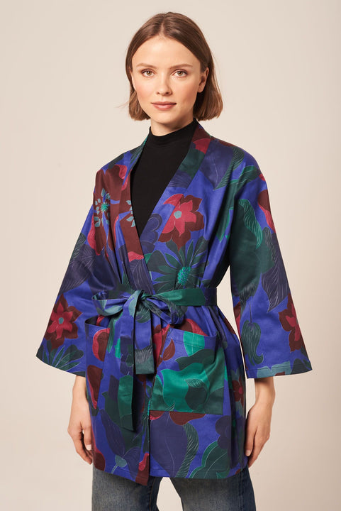 Cropped Kimono in Heavy Weight Cotton | Cobalt Retro Floral