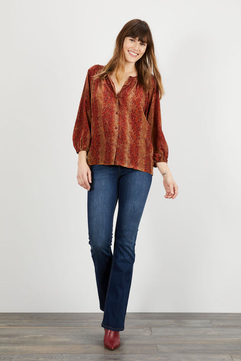 The Classic Blouse | Merlot Snake