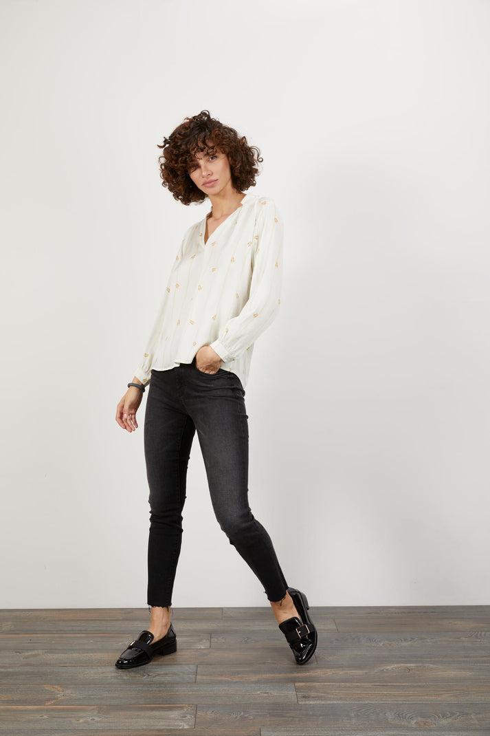 The Long Sleeve Polo Blouse | Climbing Scarab White