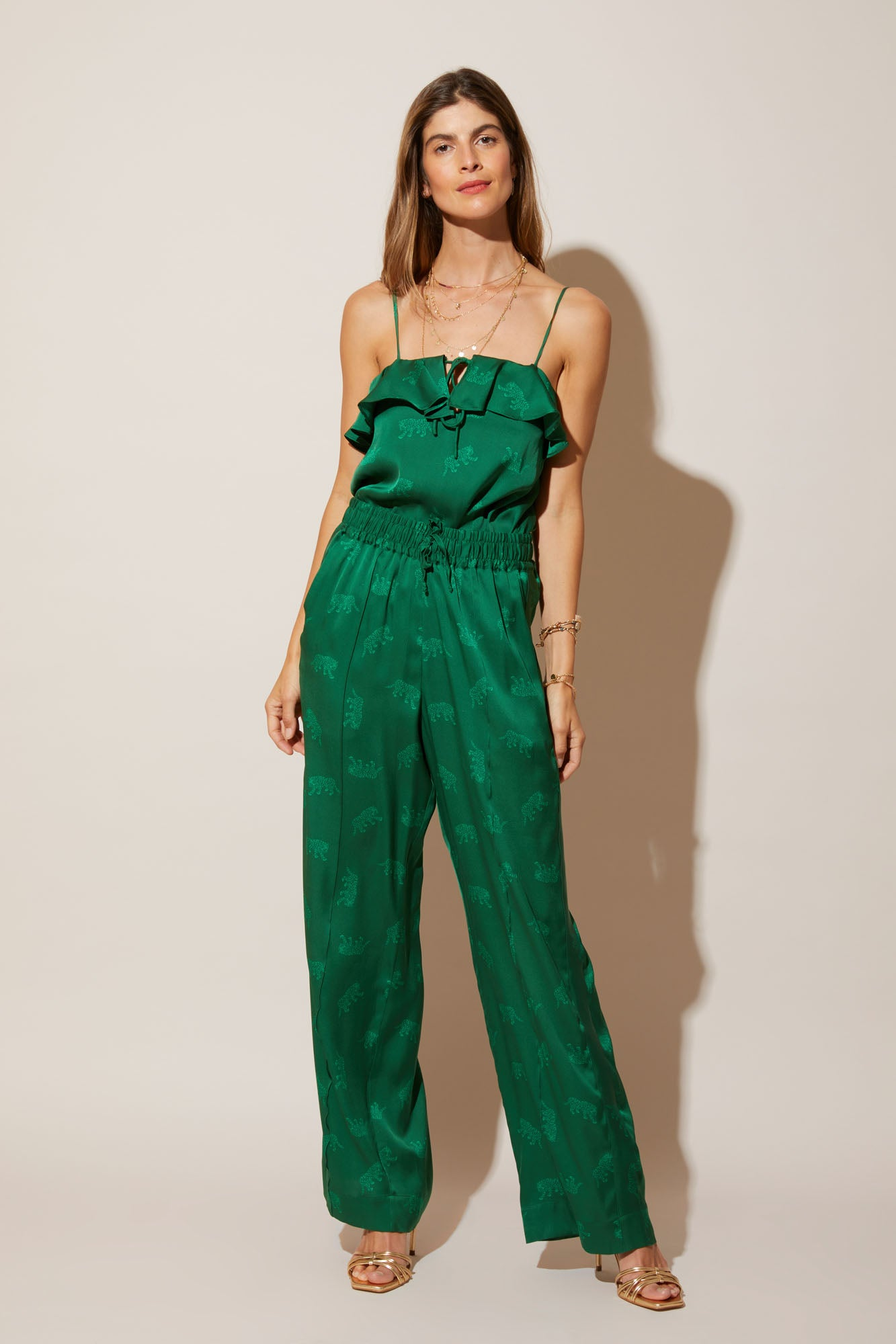 Ruffle Camisole | Emerald Leopards