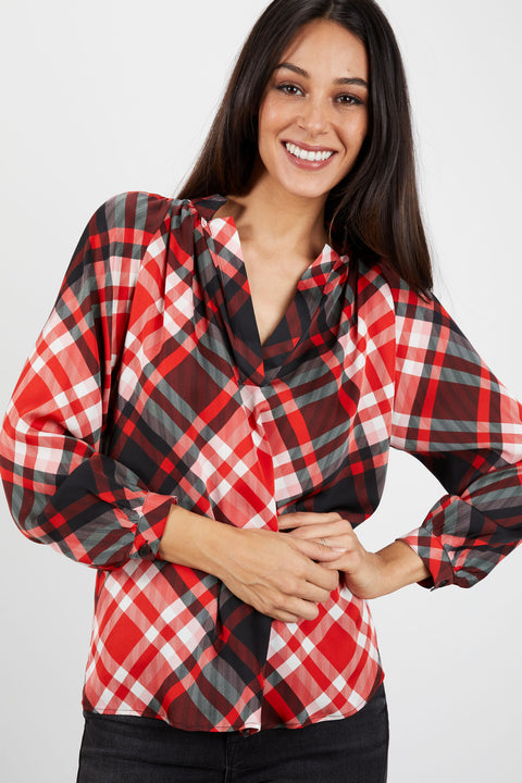 The Long Sleeve Polo Blouse | Kris Kringle Plaid
