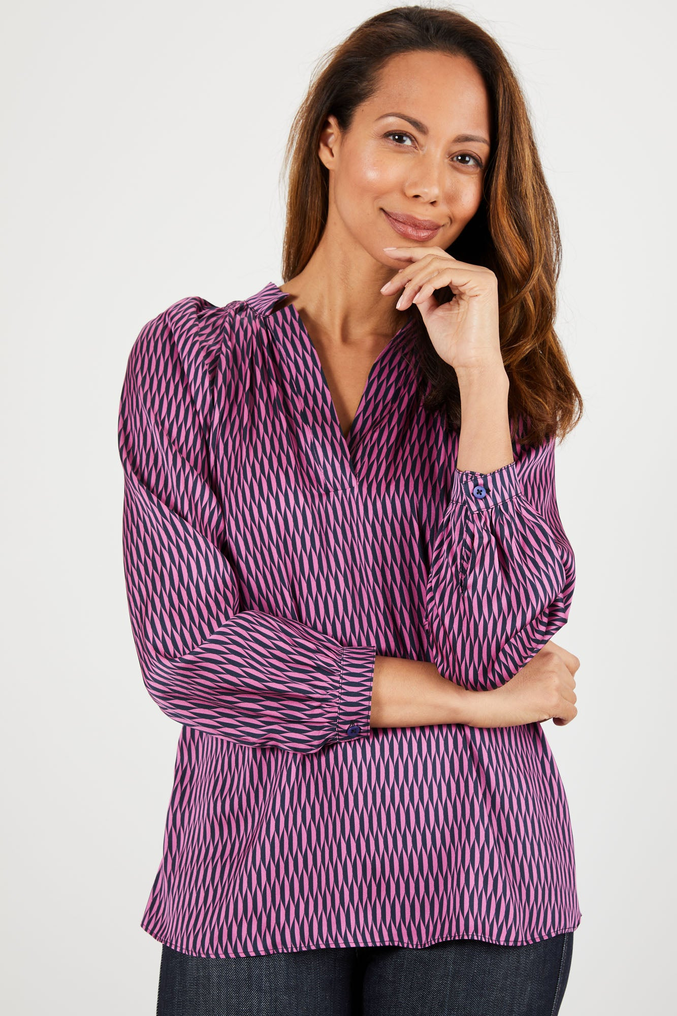 The Long Sleeve Polo Blouse | Lilac For Me