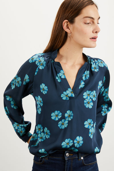 The Long Sleeve Polo Blouse | Midnight Poppies