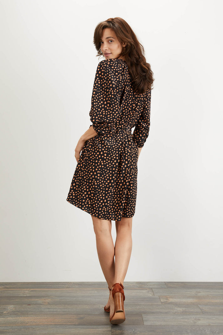 The Classic Knee Length Dress | Ebony Dot