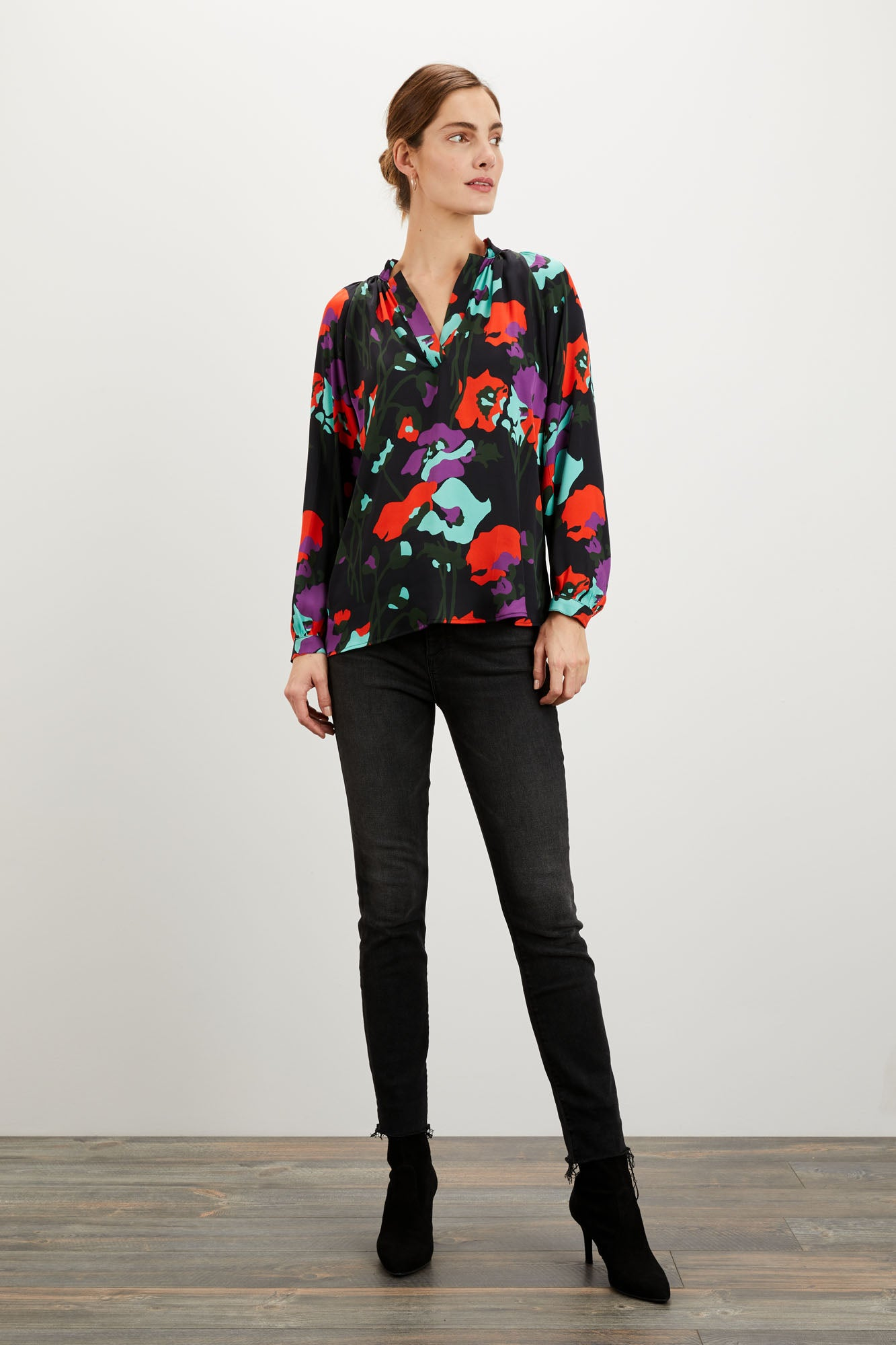 The Long Sleeve Polo Blouse | Dini's Twilight Floral