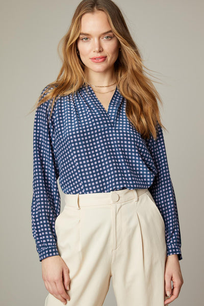 The Long Sleeve Polo Blouse | Lilac Gingham