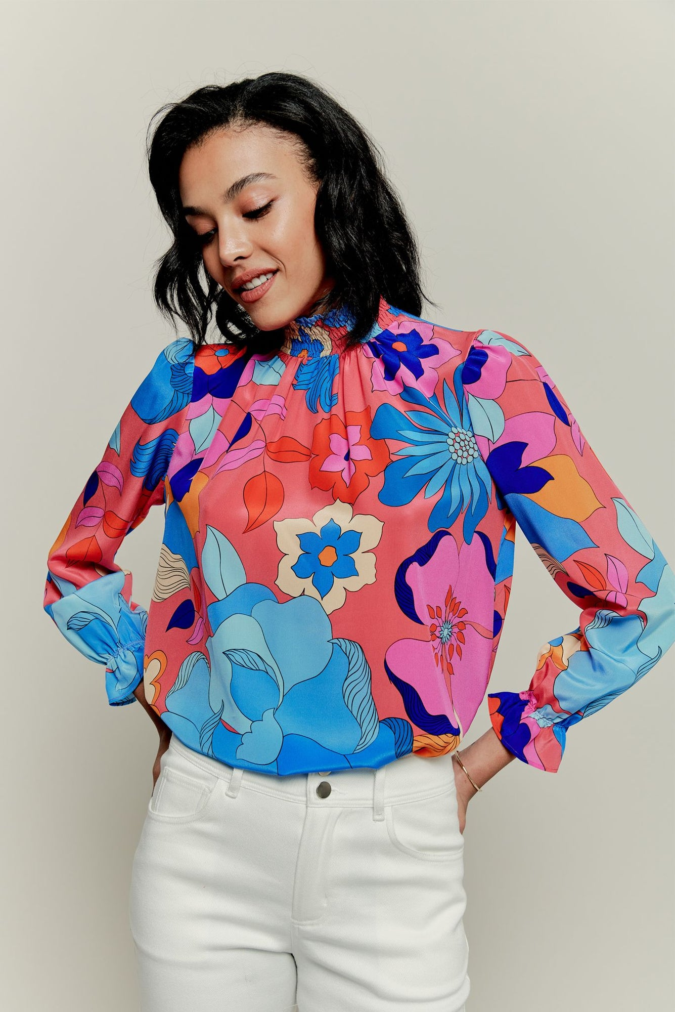 Stella Top | Pink Retro Floral