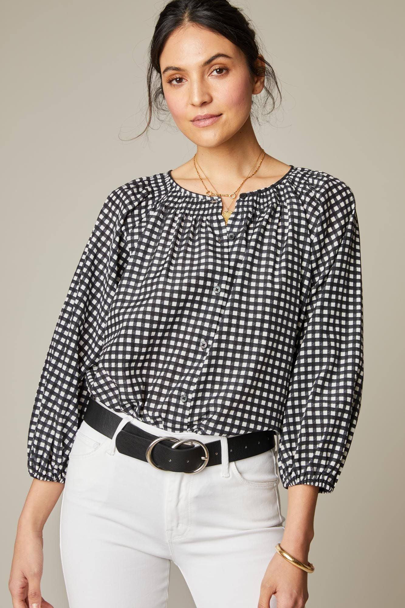 The Classic Blouse | Black Gingham