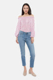 The Off the Shoulder Flounce Top | Bubblegum Stripe