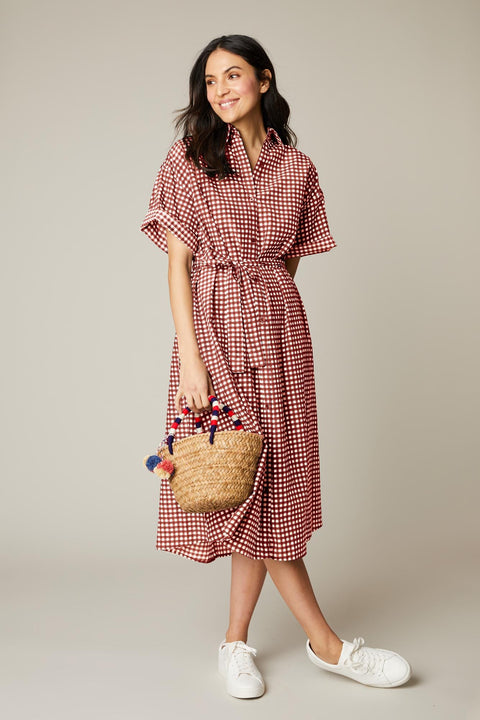 Safari Shirtdress | Mahogany Gingham