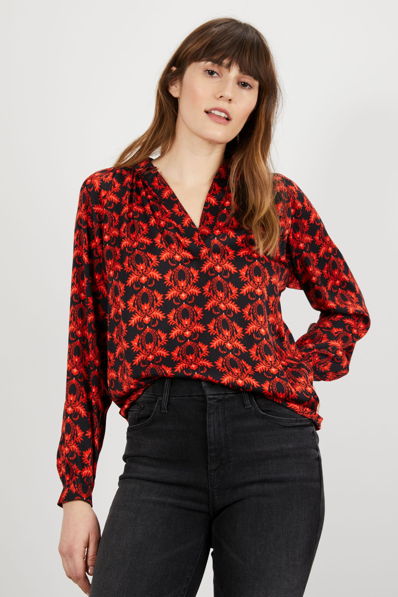 The Long Sleeve Polo Blouse | Ruby Chandelier