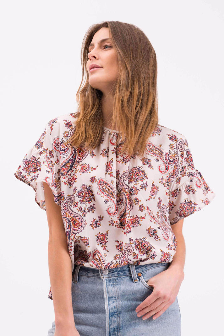 The Lola Top | Ivory Paisley