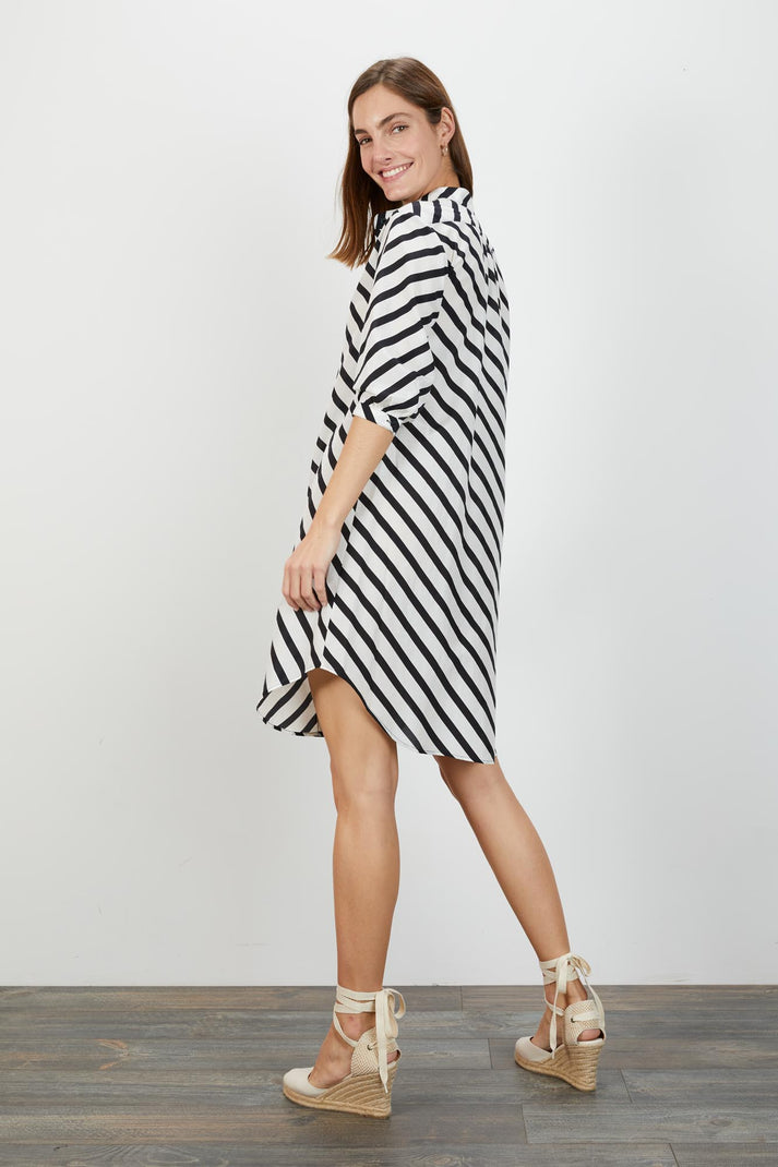 Jenna Dress  | Black Breton Stripe