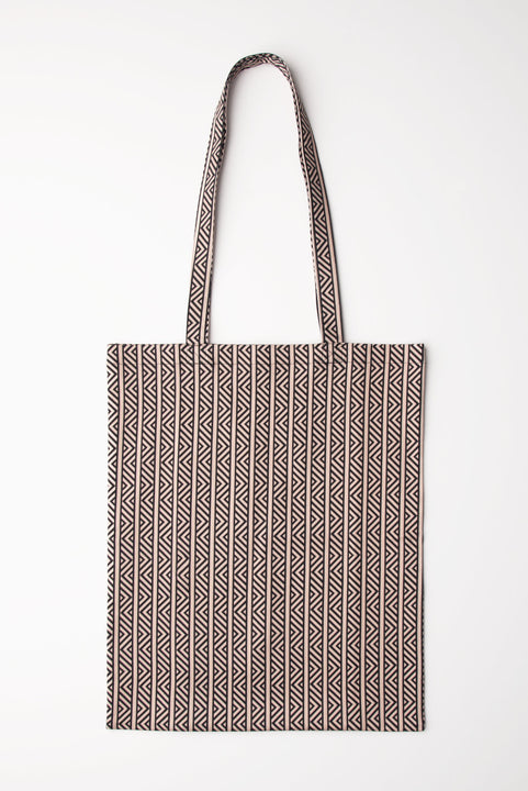 Tucker Tote - Black Chevron in Cotton/Lycra Satin