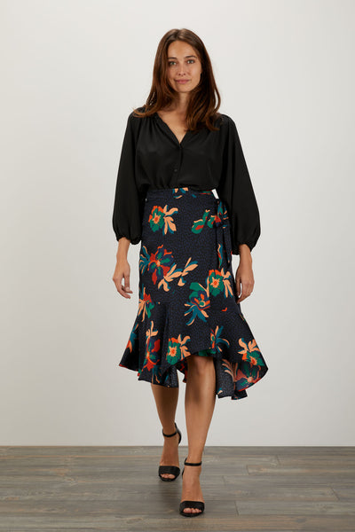 Tiered  Wrap Skirt | Black Spotted Lily
