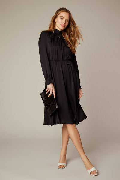 Stella Dress  - BLACK in Stretch Georgette