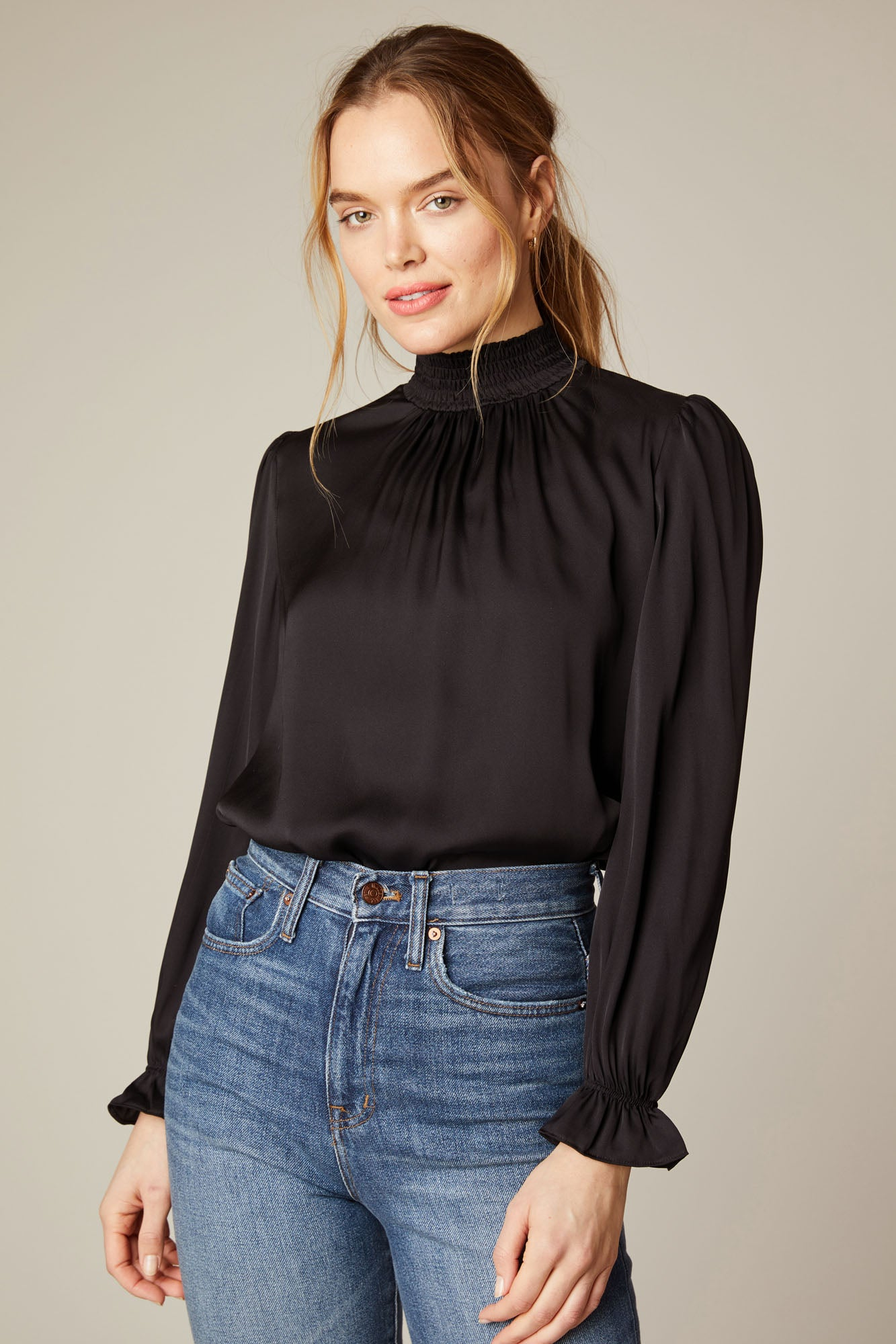 Stella Top - BLACK in Stretch Georgette
