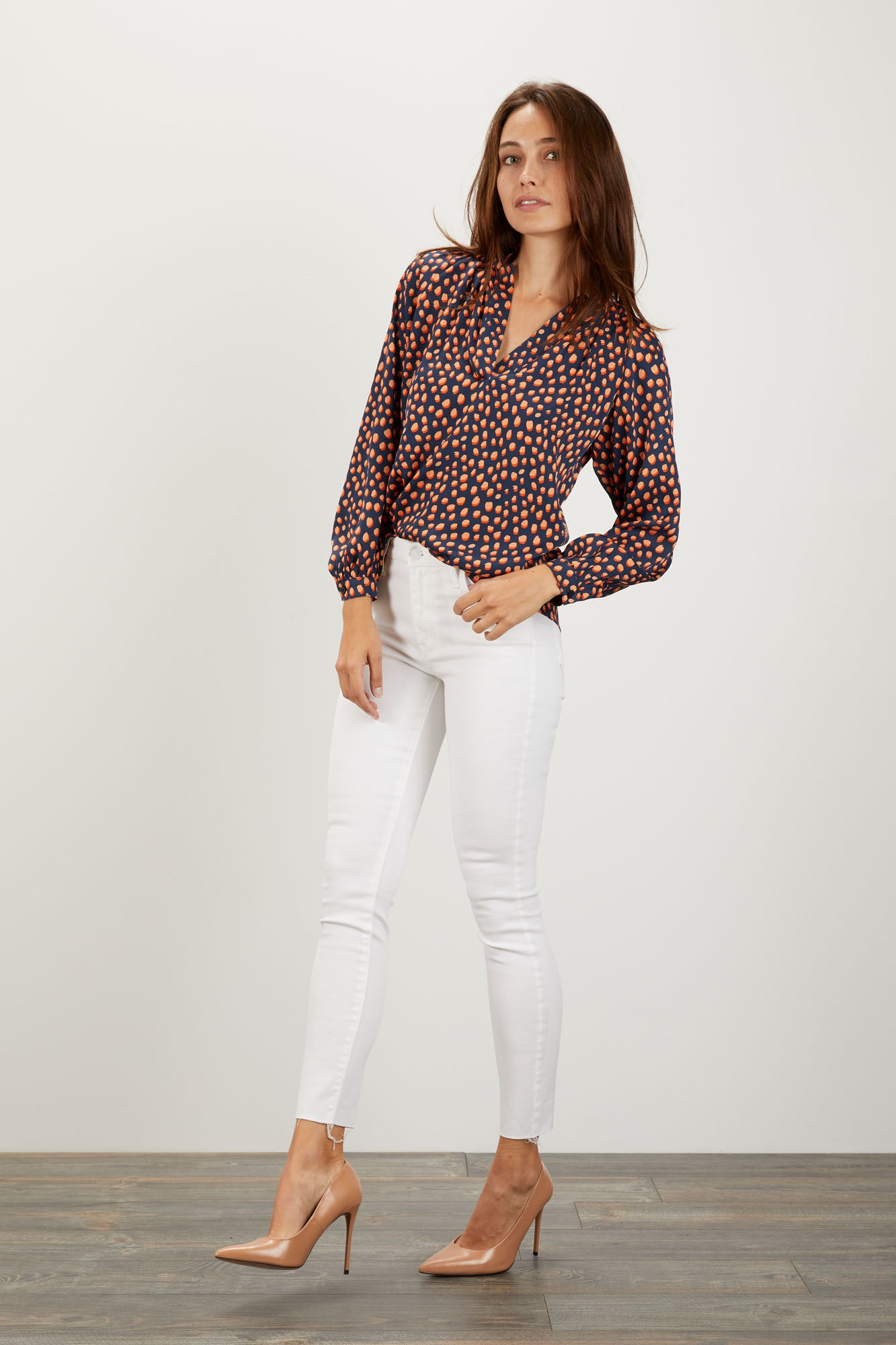 The Long Sleeve Polo Blouse | Candy Dot