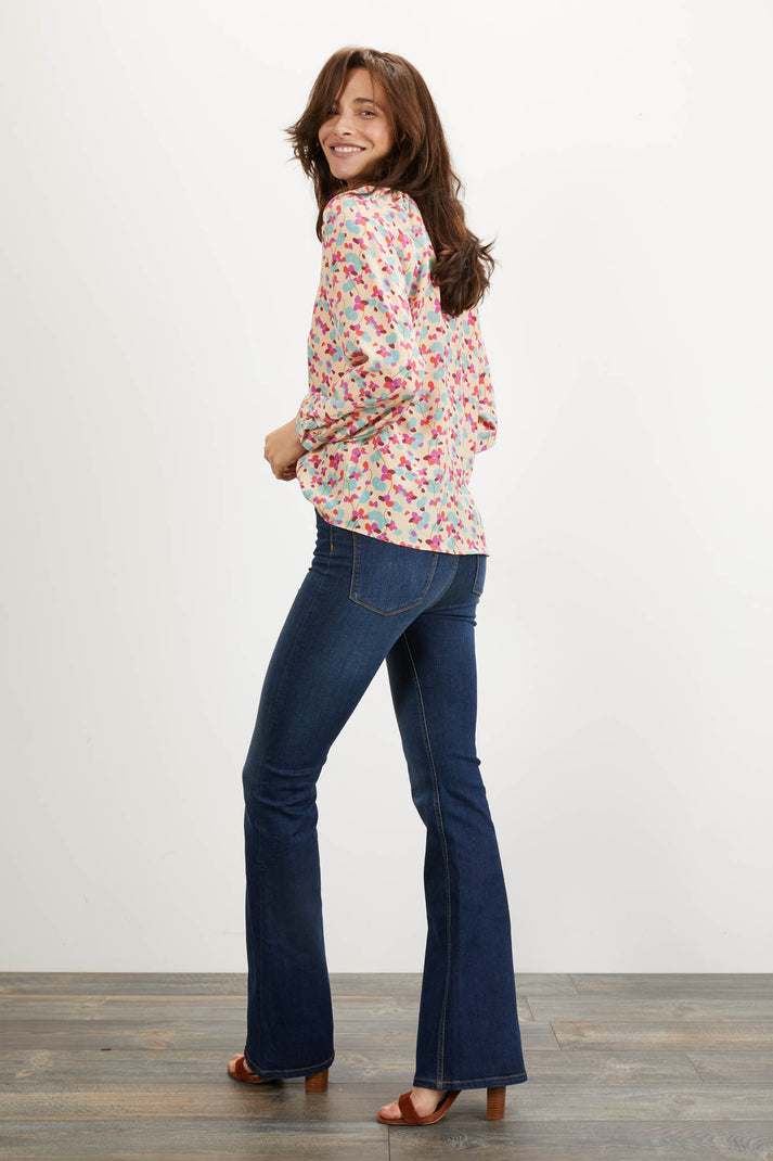 The Long Sleeve Polo Blouse | Cherry Bloom Large