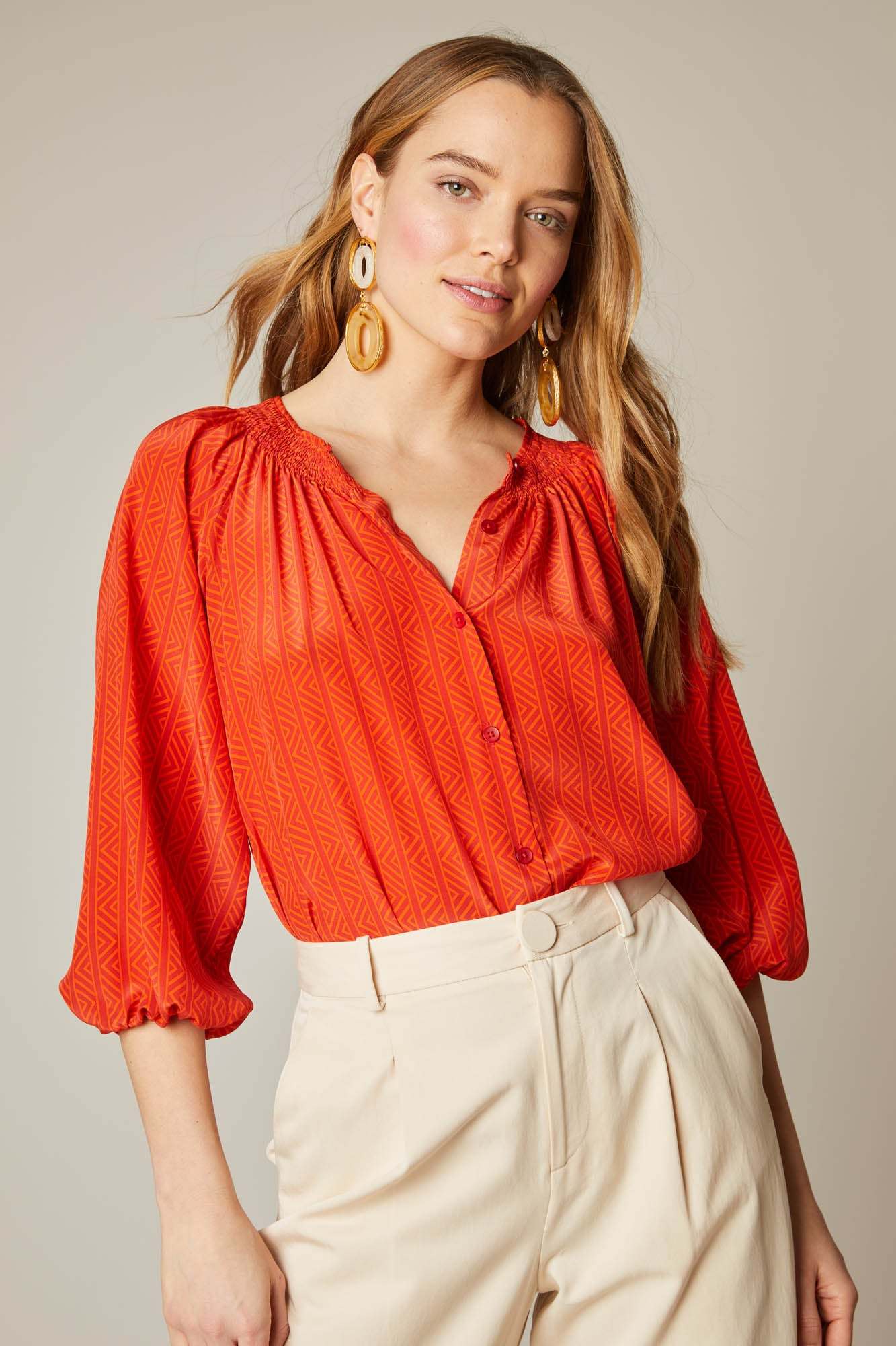 The Classic Blouse | Crimson Chevron