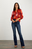 The Long Sleeve Polo Blouse | Crimson Poppies