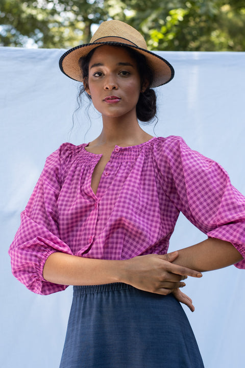 The Classic Blouse | Fuchsia Gingham