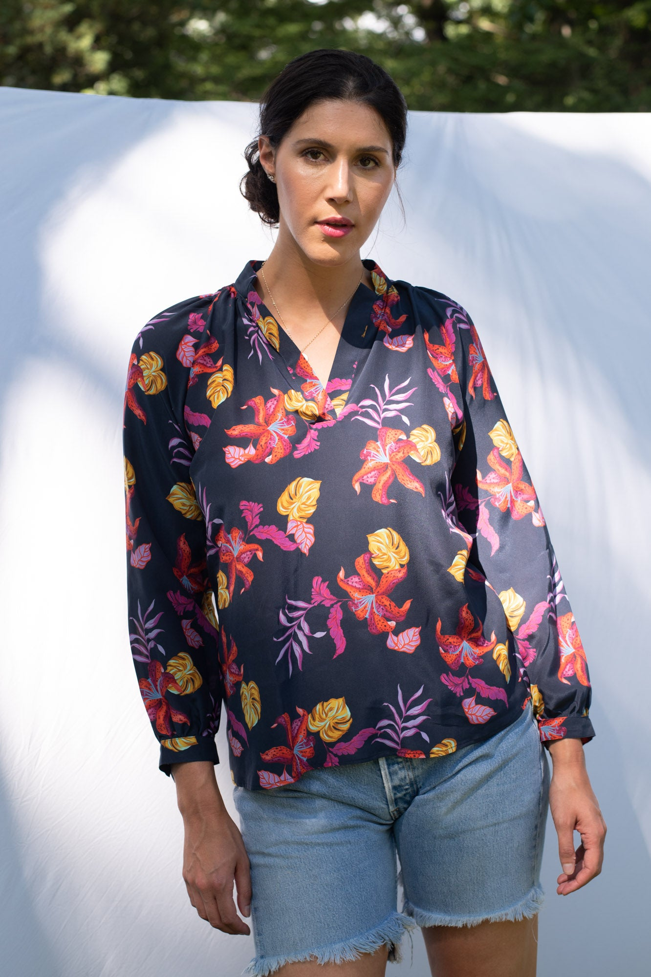 The Long Sleeve Polo Blouse | Midnight Lily
