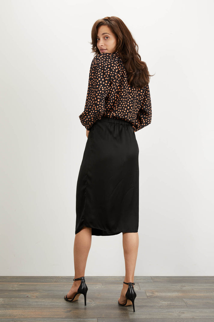 The Long Sleeve Polo Blouse | Ebony Dot