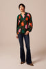 The Long Sleeve Polo Blouse | Evergreen Poppies