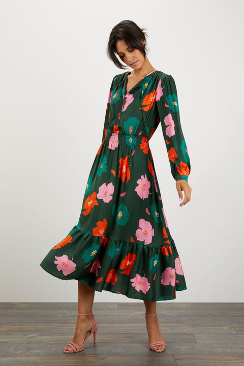 Juliette Dress | Emerald Poppies