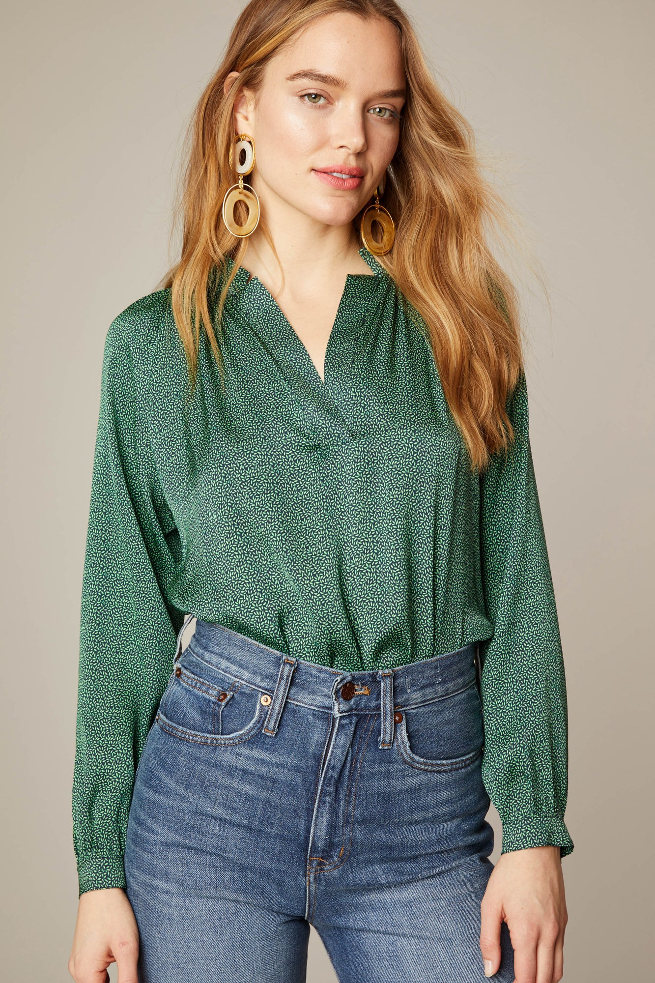 The Long Sleeve Polo Blouse | Midnight Seeds
