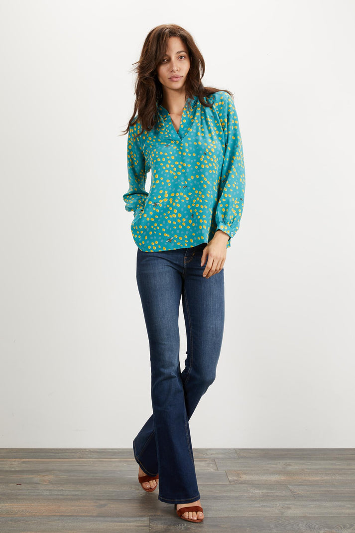 The Long Sleeve Polo Blouse | Mineral Dot