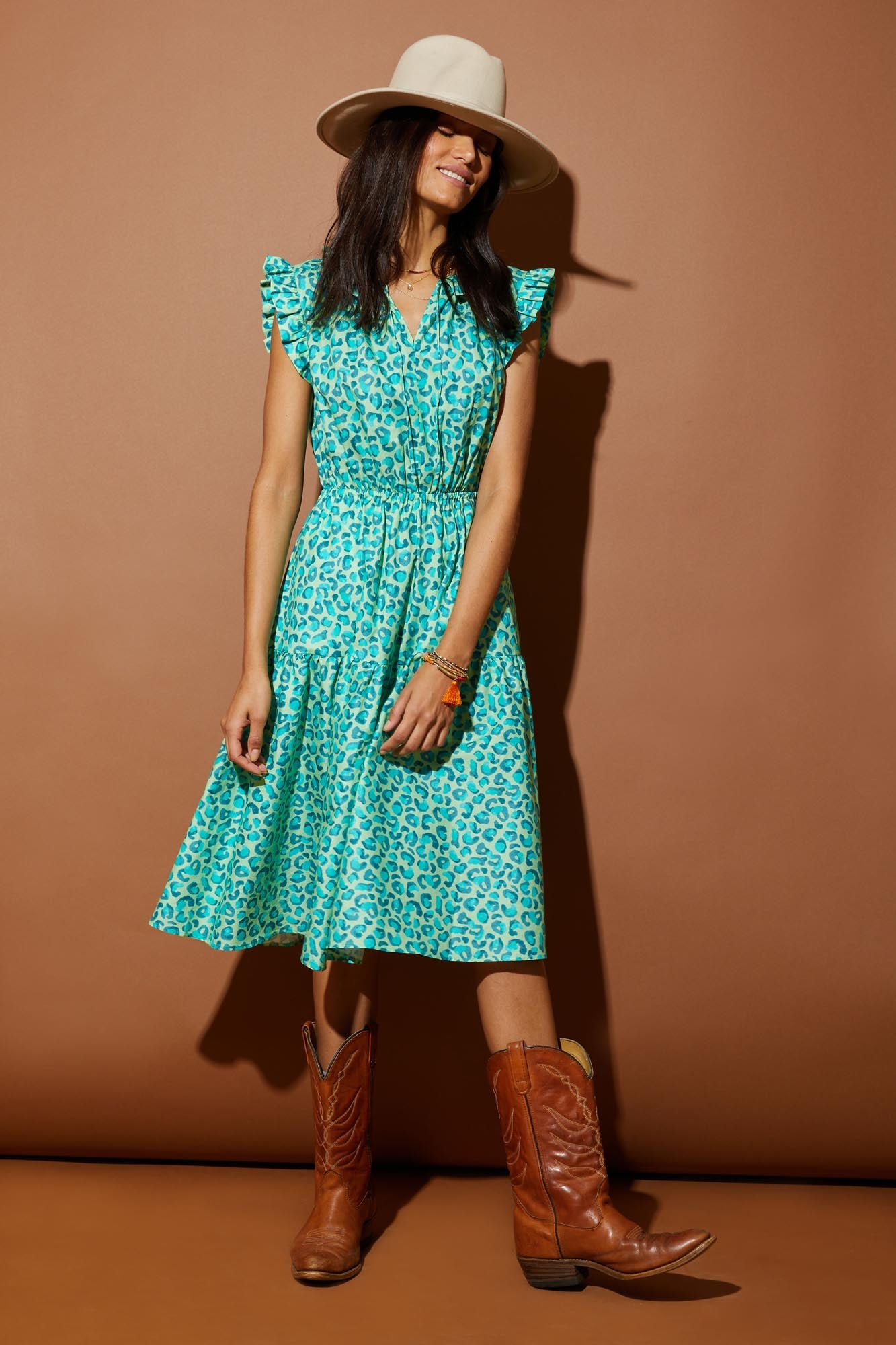 Dani Dress | Mint Leopard